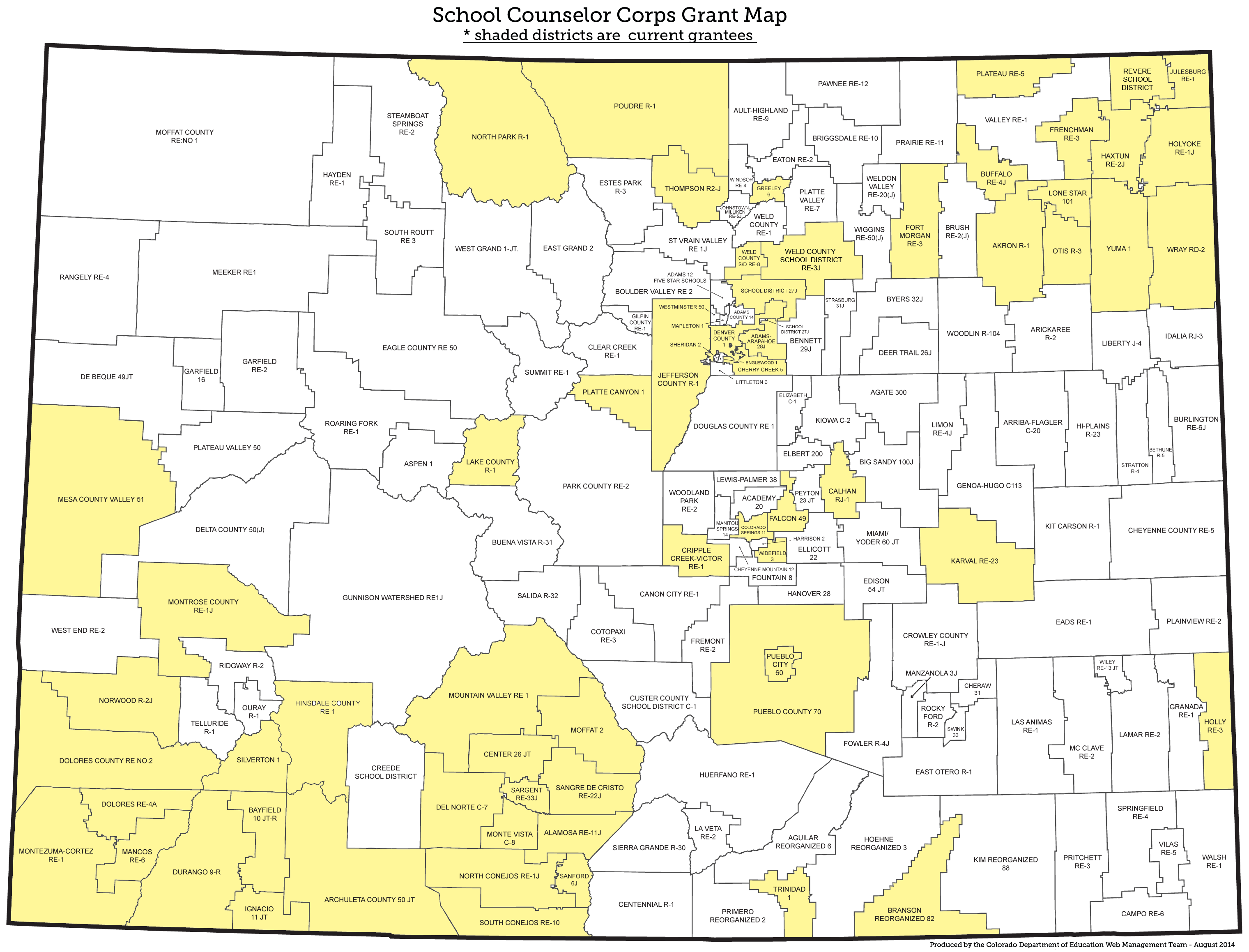 School Counselor Corps Grant Program Map